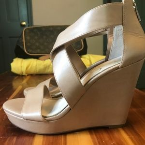 Tan Jessica Simpson Wedges Size 7.5 Brand New